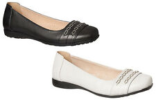 Ladies Shoes Grosby Connie Leather Ballet Comfort Flats Beige or Black Size 6-11