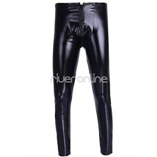 Men's Stretchy Leather Long Johns Bulge Pouch Underwear Leggings Pants Trousers