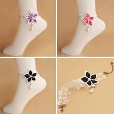 Handmade White Chain Pearl Drop Flower Lace Anklet Barefoot Foot Bracelet Gothic