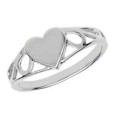 Unique Wishlist Children's Sterling Silver Small Plain Heart Signet Ring G7399
