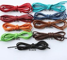 2mm 10 Colored Waxed Cotton Dress Shoelaces Round Oxford Shoe Laces Strings
