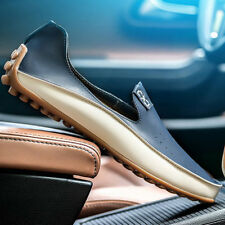 New Fashion Men Comfy Leather Flats Driving Moccasin Loafer Slip-on Casual Shoes
