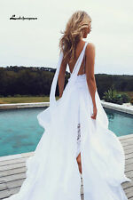2017 Summer Chiffon Boho Wedding Dress Spaghetti Straps Lace Beach Bridal Gown