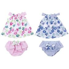 Baby Girl Strappy Swing Top Ruffles Bowknot Pants Set Clothes Outfit 3-18 Months