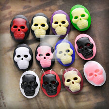 Vintage Resin Flatback Skull Cameo Oval Embellishments 18/25/40mm 12 Colors BW