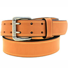 Mens 1 1/2 Tan English Bridle Leather Belt Double Hole Saddle Groove