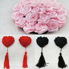 Pink Black Red Roses Heart Shaped Tassels Reusable Nipple Pasties Breast Covers