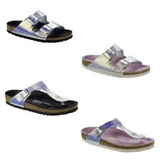 Birkenstock Gizeh Arizona Lux Ombre Pearl Silver Orchid Black Leather Sandals