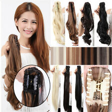 Thick Long Human Ponytail Claw Clip in Hair Extensions Curly Wavy Mix Blonde A43