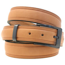 Mens 1 1/4 Domed Dress Belt Tan English Bridle Leather Buckle And Loop Set