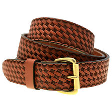 Men 1 1/2 Medium Brown English Bridle Leather Belt Embossed Basket Weave