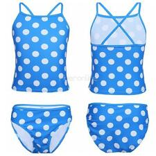 2Pcs Kids Girl Tankini Set Top Bottom Polka Dots Strap Swimsuit Bathing Swimwear