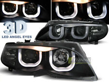 Headlights 3D LED Angel Eyes for BMW 3 Series E46 01-05 S T Black Free Shipping!