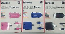 Just Wireless Mobile Phone Battery Charger Micro USB Car AC Pack Black Blue Pink