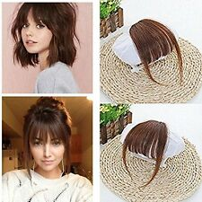 Thin Neat Air Bangs Hair Extension Clip In Natural Fringe Front Hairpiece Black