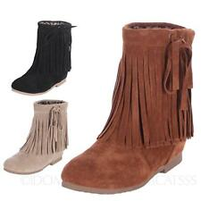 Ankle Faux suede Ladies Winter Internal Wedges Rounded Toe Booties Boots sz 4