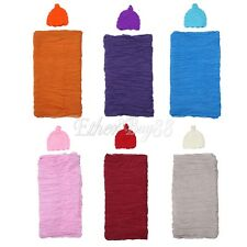 Baby Newborn Infant Ruffle Swaddle Wrap Blanket Cloth Hat Photography Photo Prop