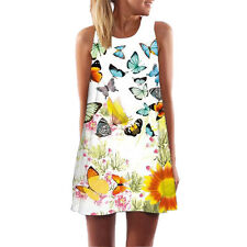 Fashion Ladies Casual Summer Sleeveless Sundress Flower Print Beach Mini Dress