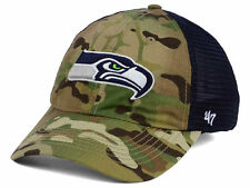 SEATTLE SEAHAWKS NFL '47 BRAND COMFORT CLOSER FLEX FIT CAMO 2-TONE HAT/CAP NWT