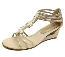 LADIES GOLD WEDGES GLADIATOR COMFY ELASTIC OPEN-TOE STRAPPY SANDALS SHOES 4-8