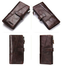 Real Leather Men's ID Card Coin Phone Holder Clutch Purse Long Trifold Wallet