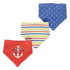 Crafted Captain Cute 3 Pack Dribble Bibs Baby Red/White/Blue Babies Feeding Bib