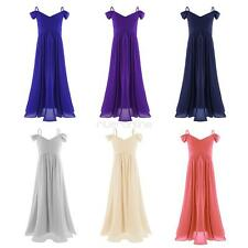 Kids Girls Off-shoulder Pleated Chiffon Princess Pageant Wedding Dress Party New