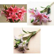 Artificial Lily 6 Heads Silk Flowers Stem Wedding Home Party Table Decor 3Color