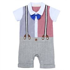 Baby Boy Kids Wedding Formal Tuxedo Suit Gentleman Romper Clothes Outfits 6-24M