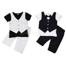 Kid Baby Boy Formal Suit Wedding Christening Party Tuxedo Outfit Clothes NEWBORN