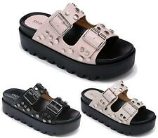 Ladies Summer Sandals Womens Studded Strappy Open Toe Wedge Heel Flatforms 3-8