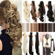 US Natural Layered Thick Claw Clip in on Ponytail Hair Extensions Brown Blonde A