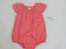 NWT Baby Girls Old Navy Size 6-12 Months Coral & Gold Thread Bubble Romper