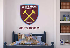 Official West Ham United Crest & Personalised Wall Sticker Football Mural Decal