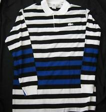 LACOSTE mens big tall striped l/s black blue white polo golf shirt alligator NEW