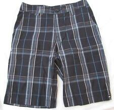 QUIKSILVER QUICKSILVER boys 8 slim black plaid cotton skater shorts NEW