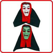 WHITE / (GREEN GLOW IN THE DARK)-VAMPIRE HOOD MASK-FANGS-SCARY-PARTY-HALLOWEEN