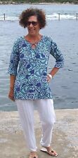 NWT Rayon Navy Green Floral Tunic+Kaftans Top PLUS SIZE'S fit 14-26