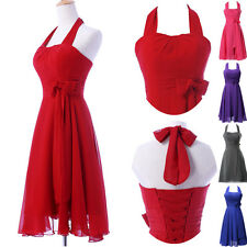 Bow Short Halter Cocktail Evening Party Prom Gown Ball Formal Bridesmaids Dress