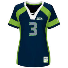 NEW WOMENS NFL Team Apparel SEATTLE SEAHAWKS #3 RUSSELL WILSON V-Neck Jersey NWT