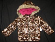 JUICY COUTURE baby girls cheetah animal print fur hood jacket puffer leopard NEW