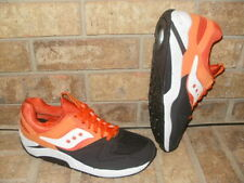 New Saucony Grid 9000 Mens Retro Running Shoe Black-Orange-White $120