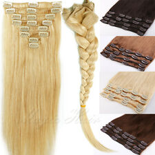 Premium FULL HEAD Clip in Remy Extensions 100% Real Human Hair Extensions Party