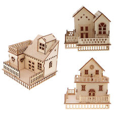 Wooden Doll House 3D Villa Model with LED Lights Craft Educational Toy Gift