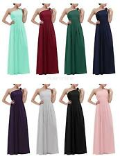 Womens One Shoulder Ball Gown Bridesmaid Evening Party Long Chiffon Dress Formal