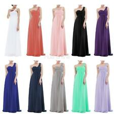 Women Chiffon One Shoulder Bridesmaid Party Long Pleated Evening Prom Gown Dress