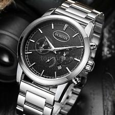 Mens Stainless Steel Casual Chronograph Sport Watches Date Quartz Watch+Box R9W9