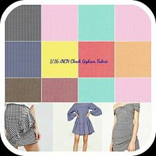 """Gingham 1/16"""" Checkered Poly Cotton Fabric Prints - 44/45"""" Wide - Sold By The Ya"""