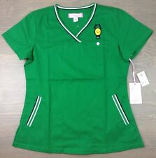 Koi Ashley Scrub Top Womens Sporty Crossover VNeck Embroidered Pineapple Grn NWT