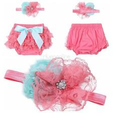 Infant Baby Girls Ruffled Bloomer Flower Headband Prop Lace Diaper Covers Shorts